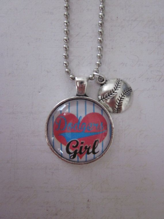 Dodgers Baseball Dodgers Girl Glass Pendant by CharmedDesignsByJC, $14.99