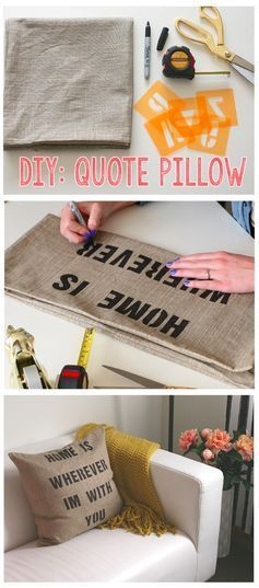 This DIY Quote Pillow tutorial will give you step-by-step instructions to making the most adorable (and custom!) quote pillows around! Choose a quote of your liking and stencil it on any type of plain pillow cover.