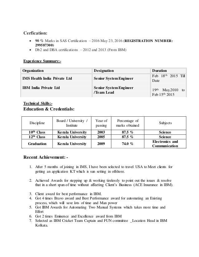 Ibm Kolkata Resume Submit - Vision specialist Baseball Resume