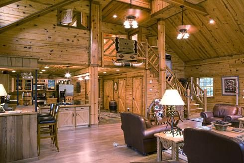Barn wood accent walls open floor plan see floor plans for Open floor plan barn homes
