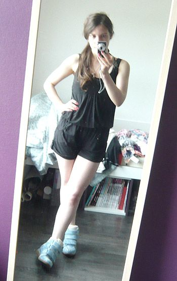 black #rompers all in one outfit^^ I'm wearing denim wedge #sneakers <3 #fashion #ootd 【コーデ】黒ロンパース×デニムインソールスニーカーのカジュアルコーデ☆