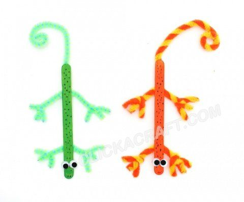 Popsicle Stick Lizards Craft for Kids – Recycling Art Project Creations to Do