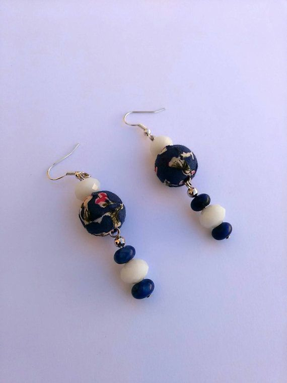 Dangle earrings with big cotton beads  gift by personal2treasures
