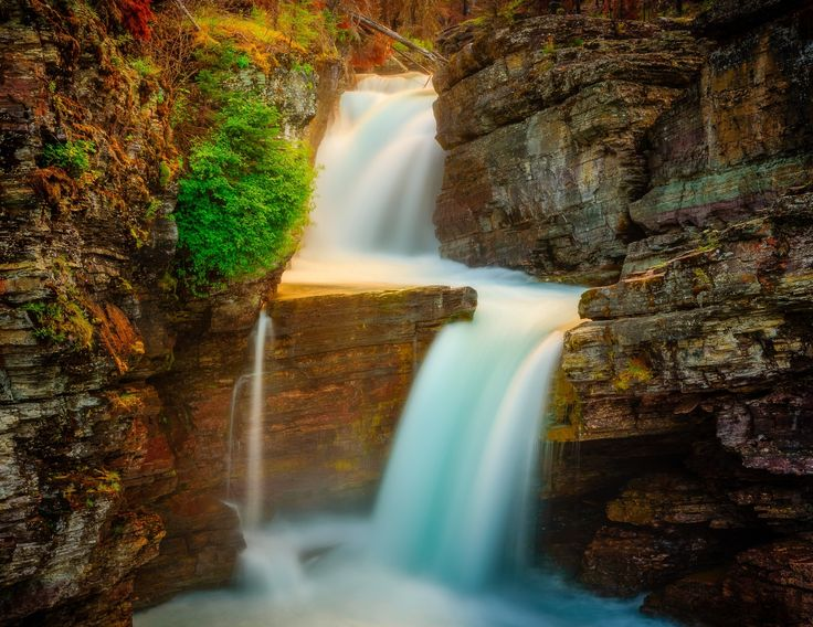 St. Marys Falls - A beautiful waterfall in Glacier National Park, Montana.