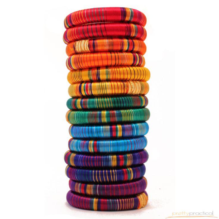 Ananda Striped Silk Thread Bracelets
