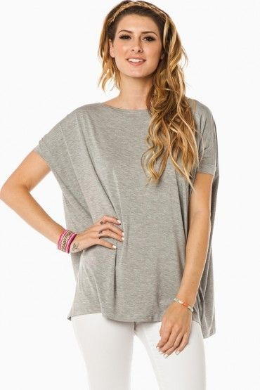 ShopSosie Style : Cozy Short Sleeve Tee in Heather Grey by Piko // Love this shirt with a skinny white jean and taupe strappy sandal for spring/summer