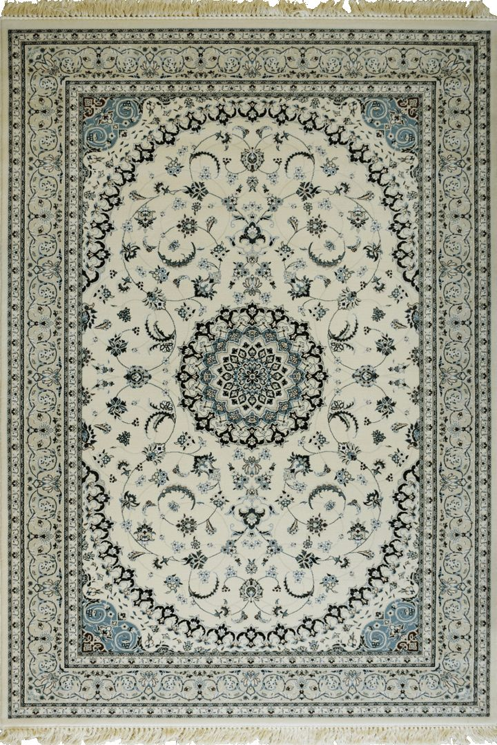 Caspian Persian Wool Medallion Rugs  75057 White Caspian Persian rugs have been crafted using premium wool featuring hand knotted fringes. A heavy quality rug that is beautifully soft to the touch with classic patterns inspired by master weavers of old, a touch of luxury for modern or classic spaces.