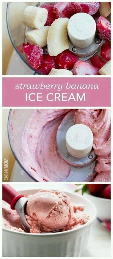 2 Bananes fraîches 1/2 Tasse de fraises congelées 1/2 cuill à thé de vanille !