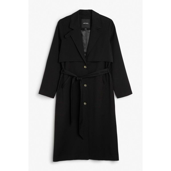 Lightweight trench coat ($69) ❤ liked on Polyvore featuring outerwear, coats, monki, lightweight trench coat, lightweight coat, trench coats and belted coat