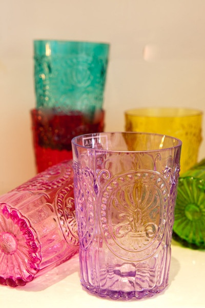 jewel toned drinking glasses.