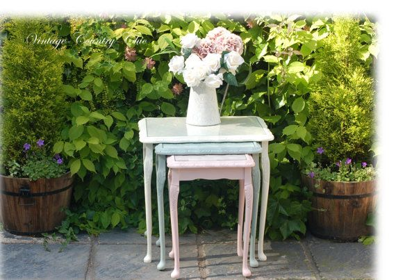 Beautiful Unique Hand Painted Embossed Vintage Shabby Chic Nest Of 3 Tables In Cream Duck Egg & Pink, Laura Ashley - Annie Sloan