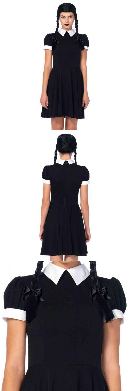 Halloween Costumes Women: Wednesday Addams Costume Adult Halloween Fancy Dress -> BUY IT NOW ONLY: $49.95 on eBay!