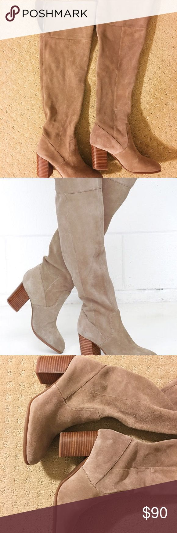 Jessica Simpson women's Suede Boots New. Never worn.   over the knee Our selection of Jessica Simpson's shoes includes various styles of heels, pumps, dress pumps, sandals, boots and wedges. Jessica Simpson's trendy and popular shoes are the perfect addition to your shoe collection.  Upper Material: Leather Upper Sole Material: Man Made Sole Fit: This Shoe Fits True To Size. Specifications  Size6.5M Women's Shoe Size6.5 ColorSlater Taupe Suede Age RangeAdult, Teen Shoe WidthB Jessica…