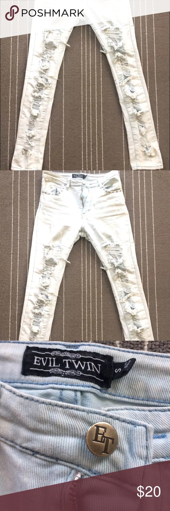 """Evil Twin acid wash thrasher ripped skinny jeans Evil Twin brand skinny acid wash torn thrasher jeans. Leg fronts are all torn up, holes have lining so skin is not exposed. Stretchy slim skinny light blue with white splotches high waisted jeans. Size small.  Measures flat approximately 14"""" across waist, 28"""" inseam and 39"""" total length. Evil Twin Jeans Skinny"""