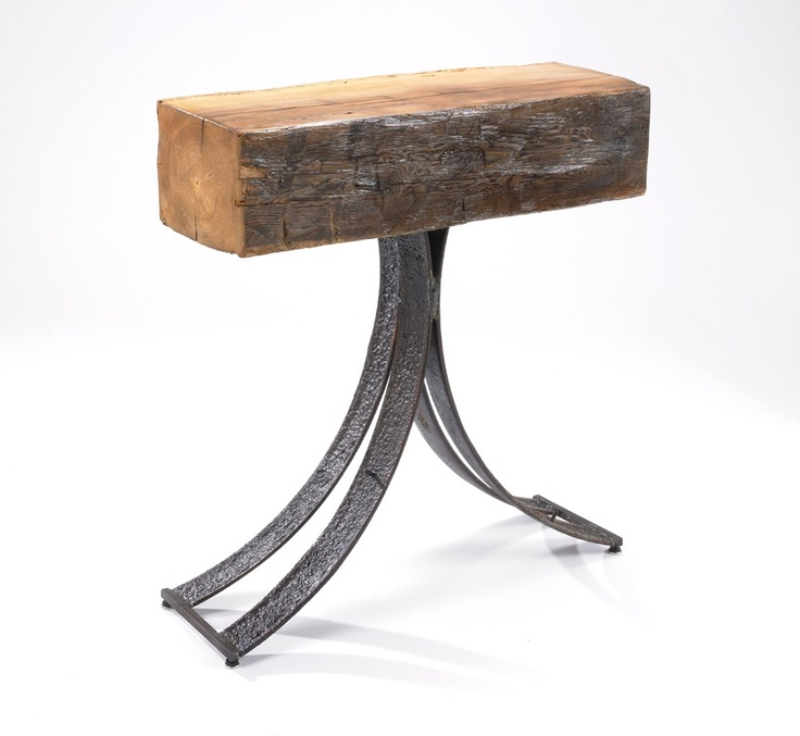 Entry or Console Table Reclaimed Wood and Recyled Farm Metal Hewn and Hammered. $2,420.00, via Etsy.