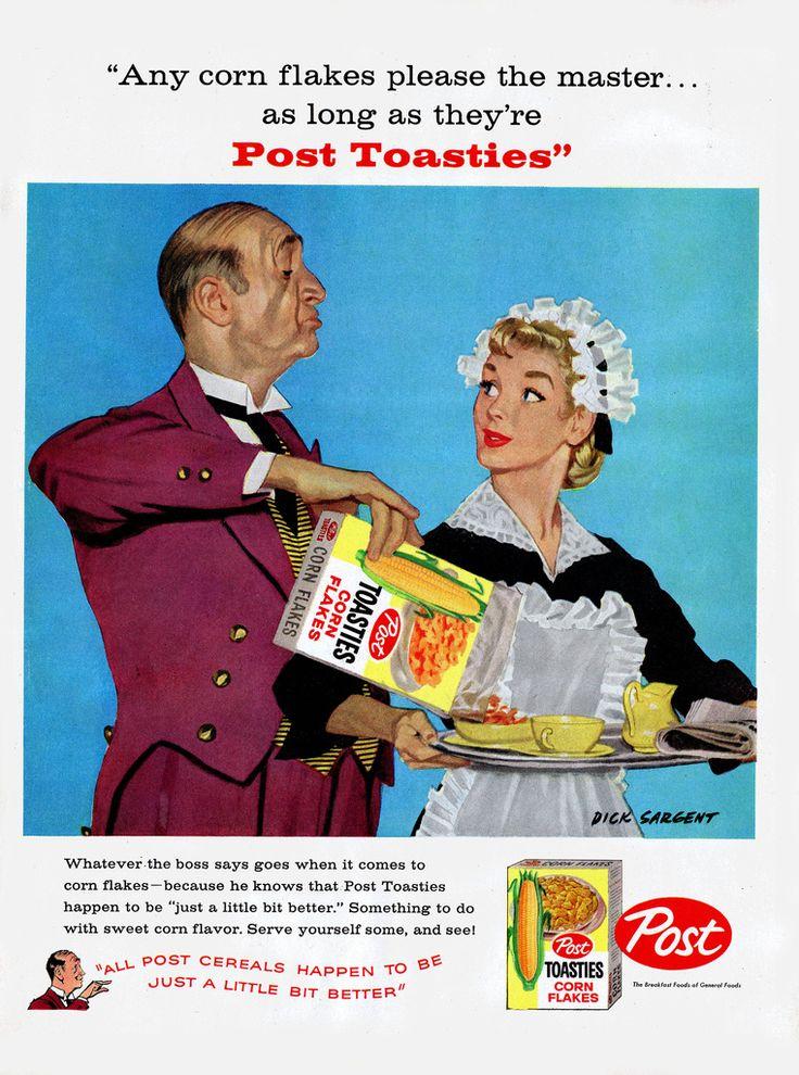 Post Toasties - Butler Maid - Magazine Ad - 1958 - Dick Sargent art