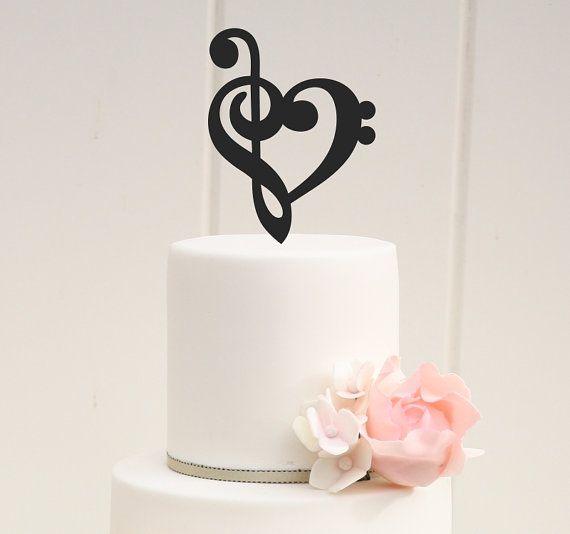 Music Heart Custom Wedding Cake Topper by ThePinkOwlDesigns