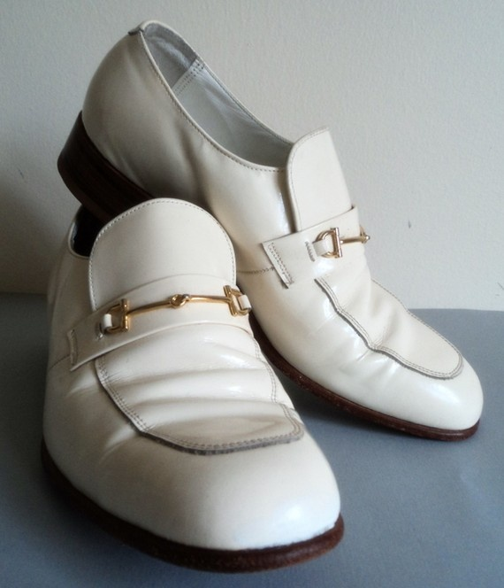 saw men's white patent leather shoes oh these are so my Dad