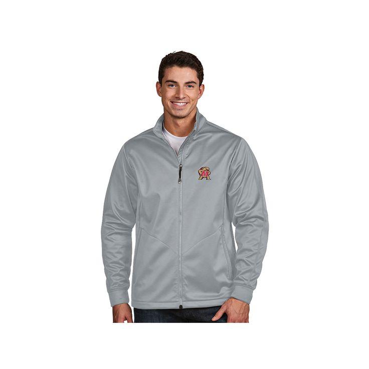 Men's Antigua Maryland Terrapins Waterproof Golf Jacket, Size: Medium, Silver