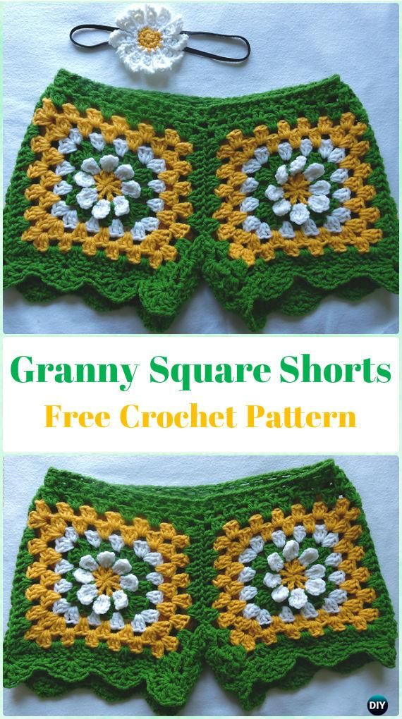 Crochet Granny Square Shorts Free Pattern - Crochet Summer Shorts & Pants Free Patterns