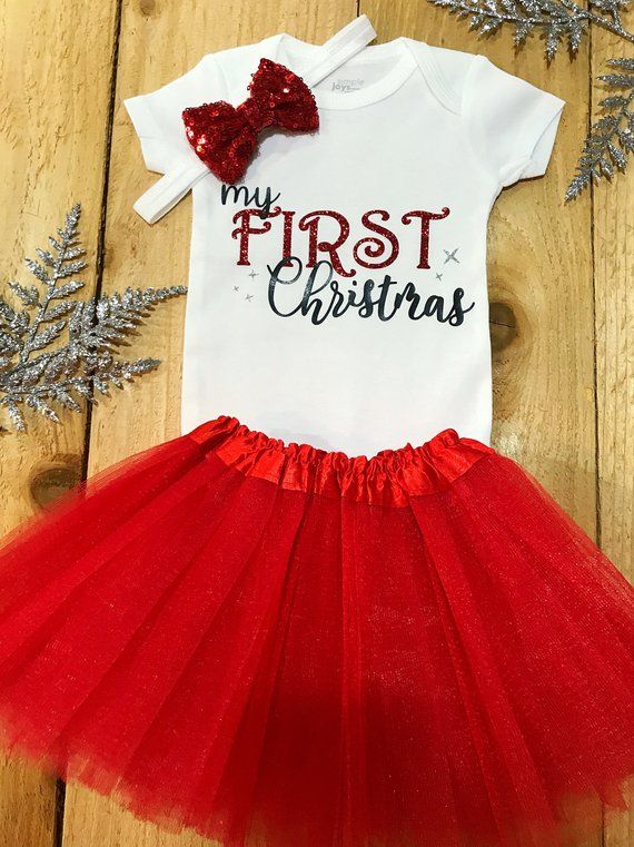 fc68efef298c Baby Girl My First Christmas Onesie Outfit Set ♥ Your little ...