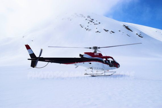 Helicopter Snow Capped Mountain New by photographicsandmore