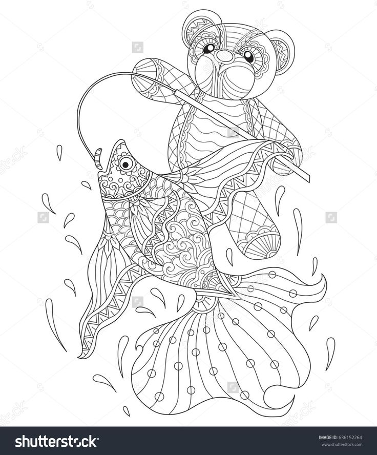 Teddy bear fishing. Zentangle stylized cartoon isolated on white background. Hand drawn sketch illustration for adult coloring book. T-shirt emblem, logo or tattoo, zentangle design elements.