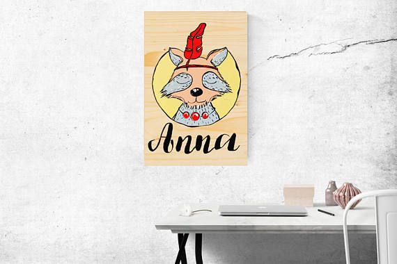 Hand painted, personalised woodland nursery sign, Rustic custom name sign, Raccoon illustration, Baby girl gift, Woodland baby shower gift
