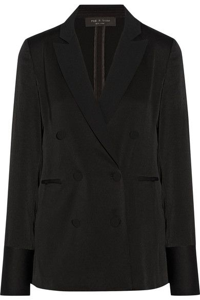 DAY TO NIGHT: rag & bone's 'Adler' blazer is expertly made from satin and unlined for fluidity. It has a double-breasted front, welt pockets and buttoned cuffs - classic elements of traditional tuxedo styles. Complete your look with black pants and sneakers.