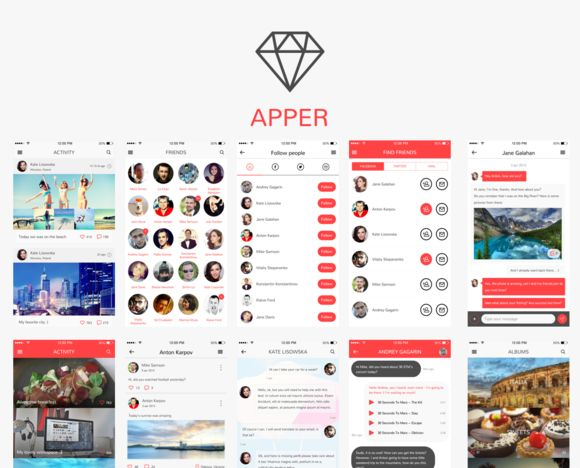 Apper UI Kit / Sketch App by Axemplate on @creativemarket