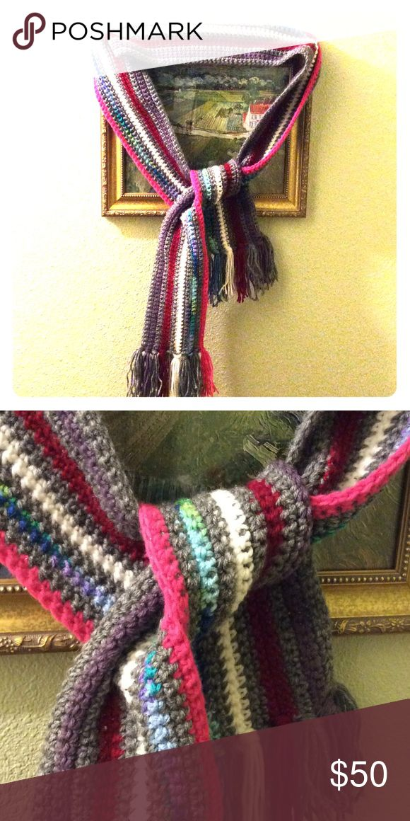 """Handmade long scarf Handmade by me, and is 74"""" long (not including tassels) by 5"""" wide.  Very warm and one of a kind!  Non-smoking home. HANDMADE, CROCHET, STRIPE, SCARF, LONG, GRAY, PURPLE, RED, WHITE, RAINBOW & PINK, PERFECT GIFT IDEA, FEMALE, DAUGHTER, WIFE, STOCKING STUFFER Handmade Accessories Scarves & Wraps"""
