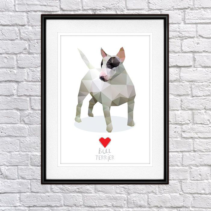Bull Terrier Digital Poster Print, Wall Decor by PSIAKREW on Etsy