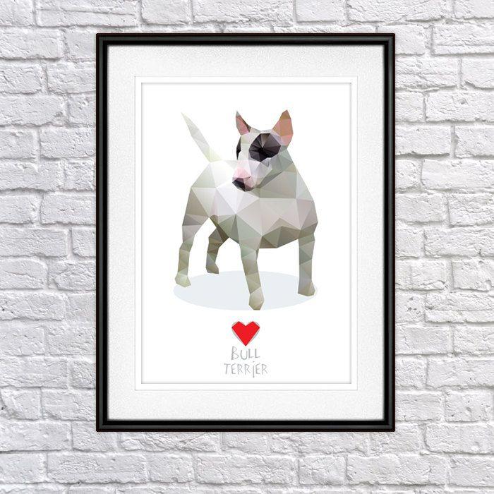 Bull Terrier Digital Poster Print, Wall Decor by PSIAKREW on Etsy