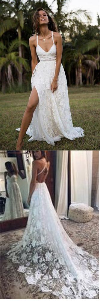Charming Lace Long A-line Spaghetti Straps Ivory V-Neck Beach Wedding Dress UK PH416,#lace#vneck#ivory#wedding#dress#bridal#dress#gorgeous