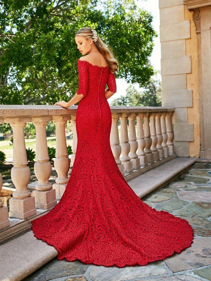 Classically Elegant 2018 Moonlight Couture Wedding Dresses Modwedding Red Lace Wedding Dress Lace Wedding Dress With Sleeves Red Wedding Gowns