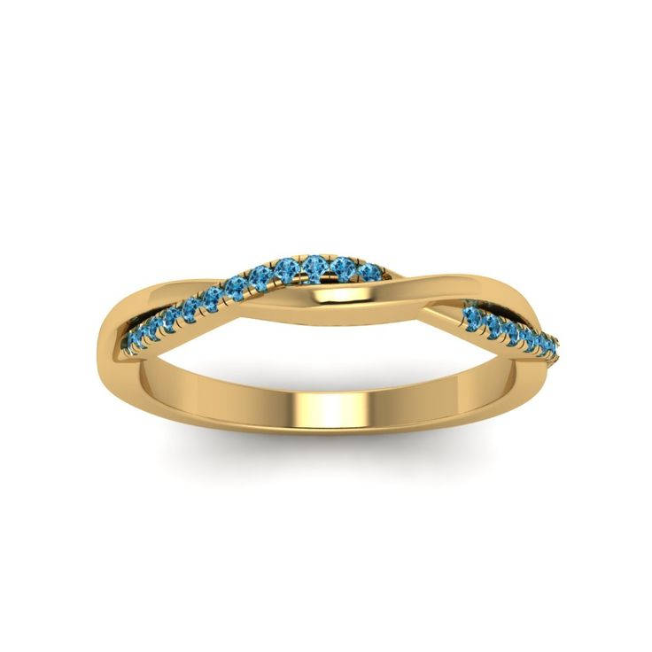 Twisted Blue Sapphire Wedding Band