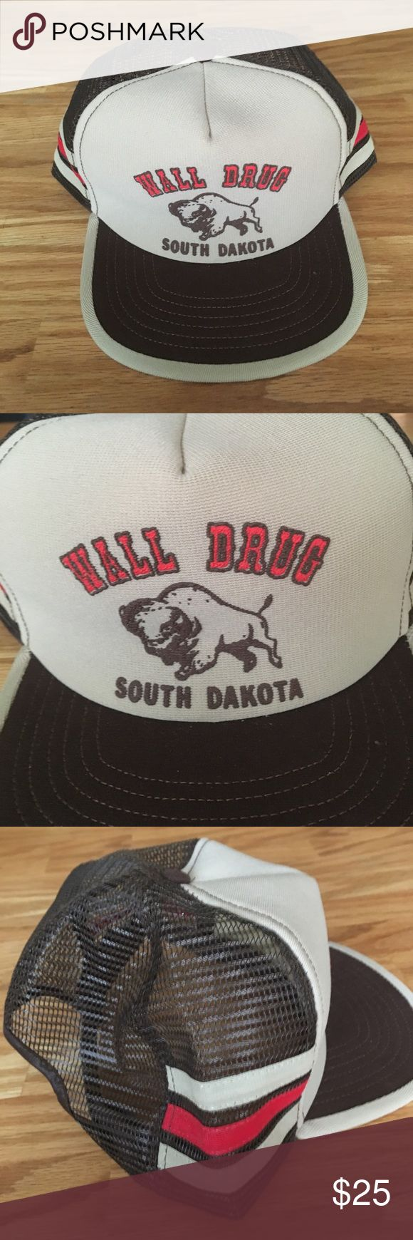Vintage wall drug South Dakota trucker hat Hat has a snap back feature. No stains or odors. Hat is is excellent used condition! Thank you for looking! :) Accessories Hats