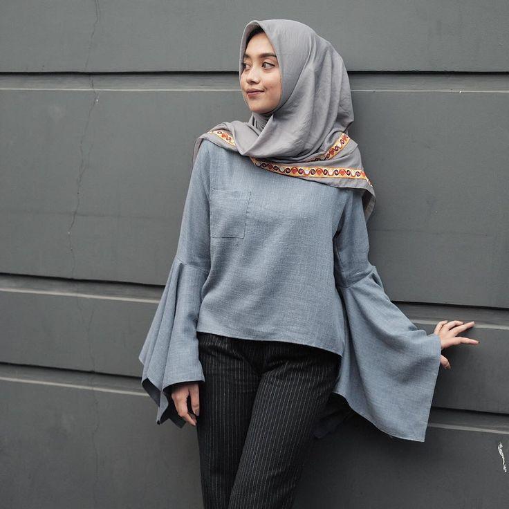 Pingl Par Hasna Uswatun Nisa Sur Casual Hijab Style Pinterest Femme Hijab Chemise Et Femmes
