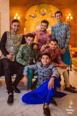 Real Indian Weddings - Garima and Tuhin   WedMeGood   Groom with his Groomsmen in Chudidaar and Kurta with Floral and Paisley printed Nehru Jackets Picture Courtesy: @weddingsalad #wedmegood #realwedding #groomsmen #nehru #jackets