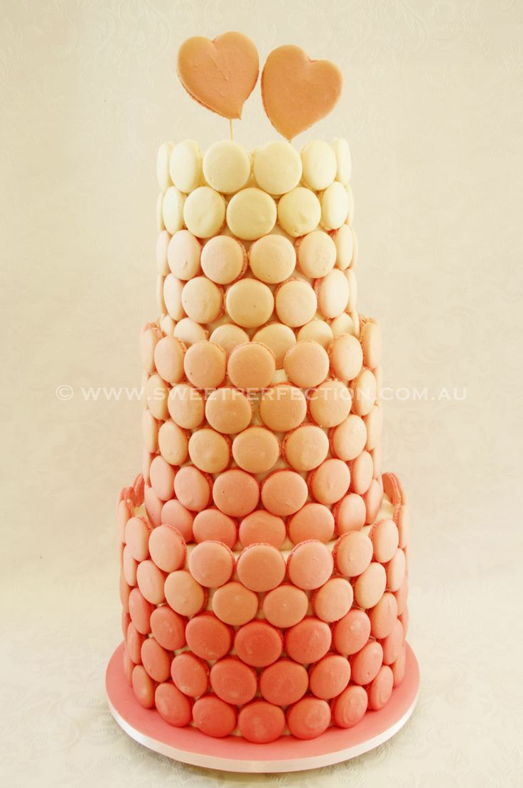 Ombre macaron wedding cake. Something different with texture and colour.