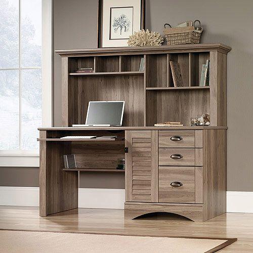 Sauder Harbor View Computer Desk With Hutch, Salt Oak: Furniture : Walmart .com