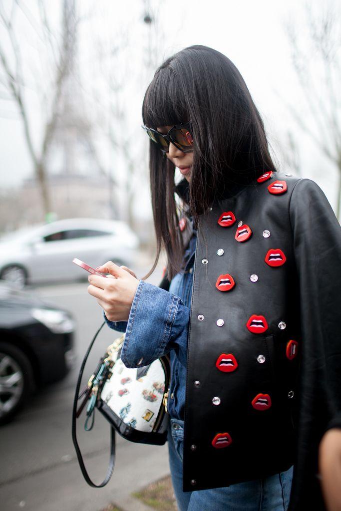 Fashion Week Street Style. Yazbukey lips at Paris Fashion Week Fall 2015 #PFW [Photo by Kuba Dabrowski]