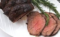 Perfect Med-Rare Roast Beef - crusty outside & ends, inside tender & thinly sliced 4-6 lbs sirloin tip or rump roast room temp Lightly rub w/ oil/seasoning rub garlic salt & pepper Preheat 500 roast uncovered @ 7 mins per lbs Turn off heat & roast 2 hrs Do NOT open oven door Do NOT peek Frozen beef 1st brush w/ oil/seasoning 500 oven for 1 1/2 times room temp time, abt 11 mins per lbs Turn off heat & let roast 2 hrs w/ oven closed Do NOT open oven