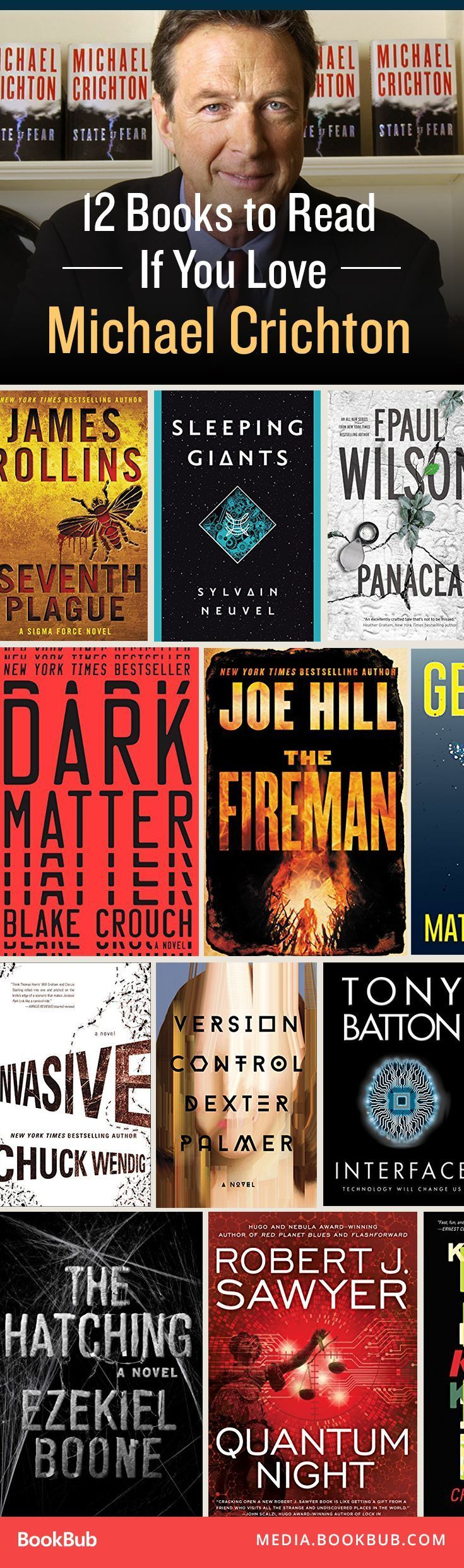 12 books worth a read if you love Michael Crichton, including fast-paced, twisty, science-fiction thrillers.