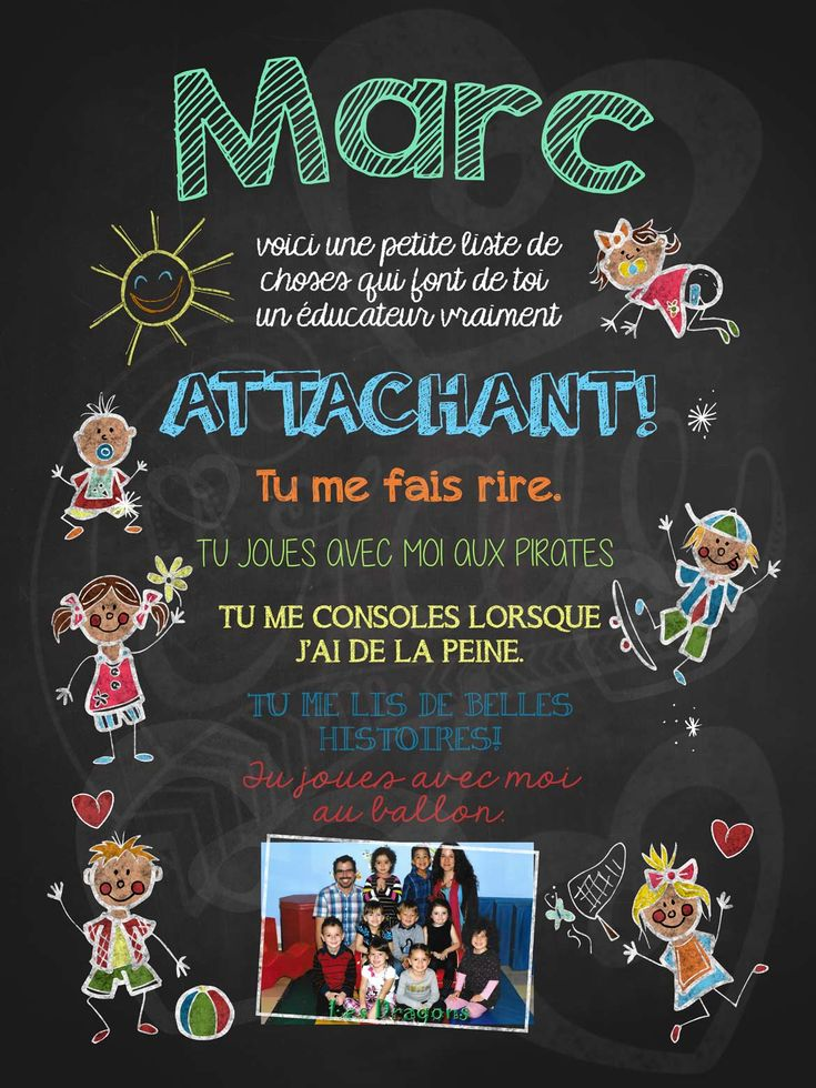 Affiche personnalisée Éducateur attachant! avec photo | 17,00$ #lacraieco #chalkboard #cadeau #gardien #garderie #cpe