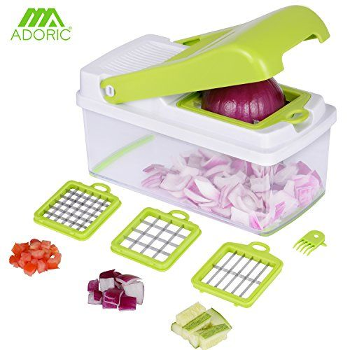 From 14.99 Vegetable Chopper Adoric Life Quickpush Food Slicer Dicer 3 Interchangeable Blades Set With Food Container & Cleaning Brush For Potato Tomato Onion Salad Fruit