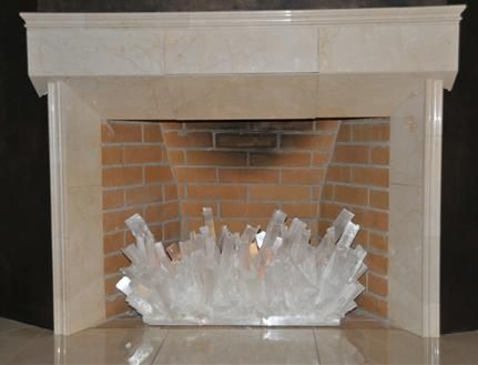 Custom Selenite Fireplace Sculpture by Kathryn McCoy Designs | The English Room