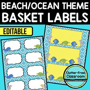 BEACH OR OCEAN THEME Editable Labels by CLUTTER FREE CLASSROOM - These organizational labels have many uses in the classroom or home school. They can be classroom library labels, name tags for cubbies or desks, supply labels, used for organizing centers, and much more. Grab these cute printables today for your preschool, Kindergarten, 1st, 2nd, 3rd, 4th, 5th, or 6th grade classroom or home school. And make sure to check out the links for some FREE downloads to help make your space look…
