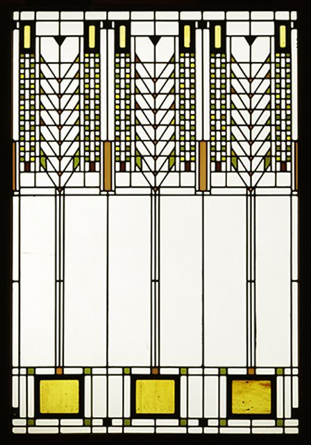 """Frank Lloyd Wright - stained glass design sometimes called """"Tree of Life"""", also known as a """"Wheat"""" pattern"""