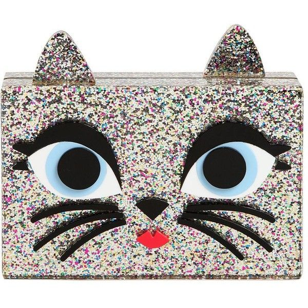 Karl Lagerfeld Women Choupette Glittered Pvc Box Clutch found on Polyvore featuring bags, handbags, clutches, bolsas, silver, hard clutch, glitter purse, karl lagerfeld, shoulder strap handbags and glitter box clutch